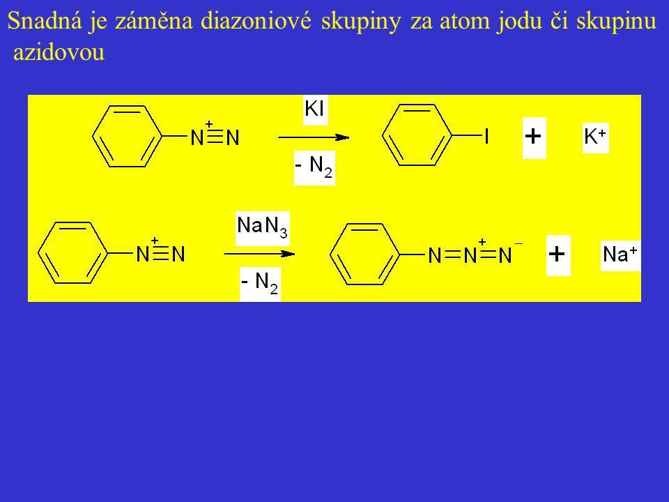 Snadná je záměna diazoniové skupiny za atom jodu či skupinu azidovou
