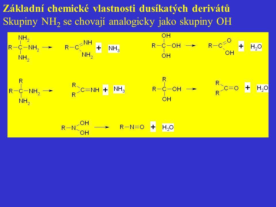 Základní chemické vlastnosti dusíkatých derivátů Skupiny NH 2 se chovají analogicky jako skupiny OH