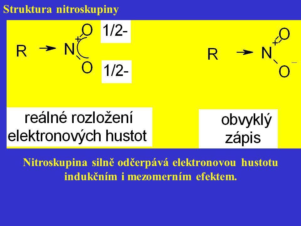 Struktura nitroskupiny Nitroskupina silně odčerpává elektronovou hustotu indukčním i mezomerním efektem.