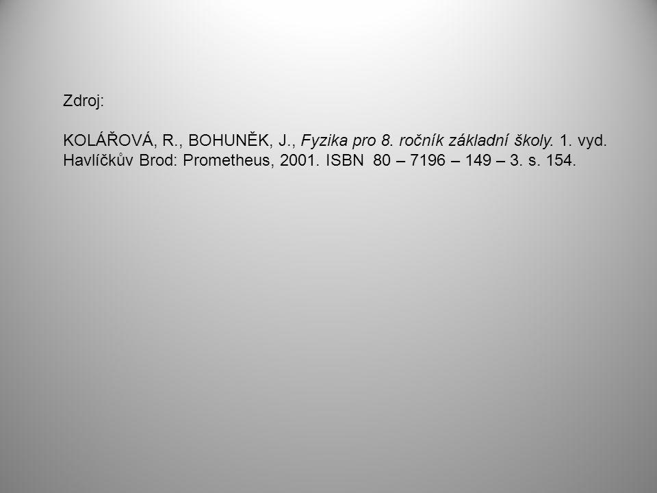 Zdroj: KOLÁŘOVÁ, R., BOHUNĚK, J., Fyzika pro 8. ročník základní školy.
