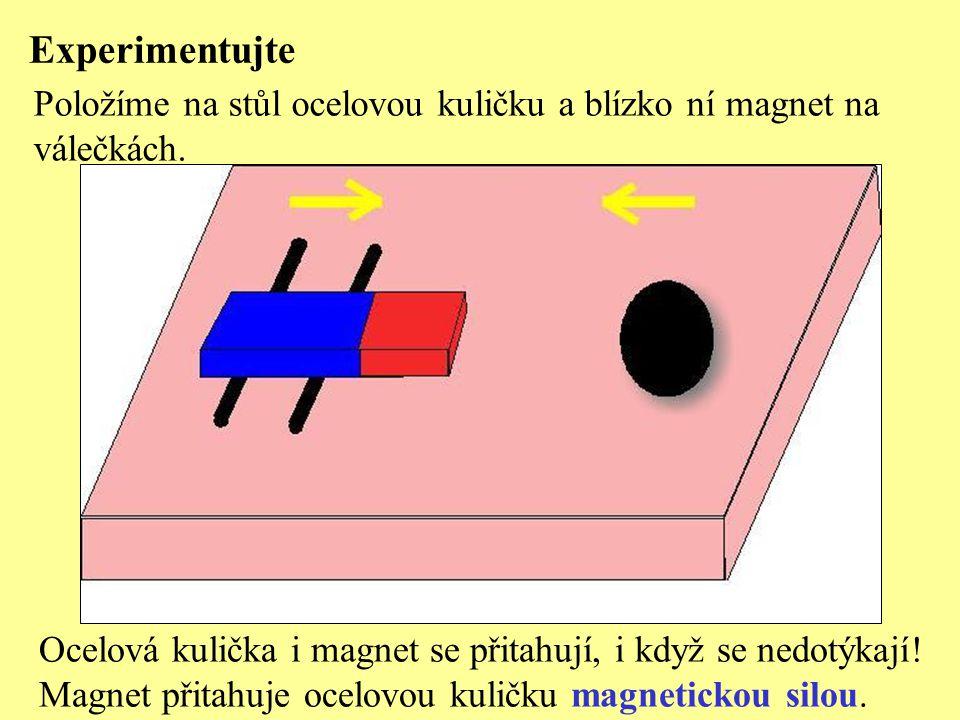 Experimentujte Položíme na stůl ocelovou kuličku a blízko ní magnet na válečkách.