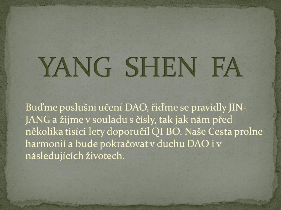 Buďme poslušni učení DAO, řiďme se pravidly JIN- JANG a žijme v souladu s čísly, tak jak nám před několika tisíci lety doporučil QI BO. Naše Cesta pro