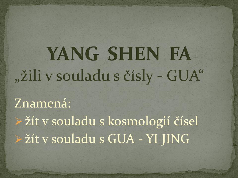 """""""žili v souladu s čísly - GUA"""" Znamená:  žít v souladu s kosmologií čísel  žít v souladu s GUA - YI JING"""