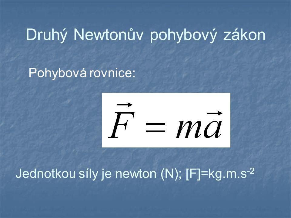 Druhý Newtonův pohybový zákon Pohybová rovnice: Jednotkou síly je newton (N); [F]=kg.m.s -2