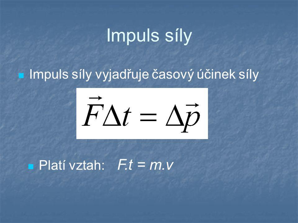 Impuls síly Impuls síly vyjadřuje časový účinek síly Platí vztah: F.t = m.v