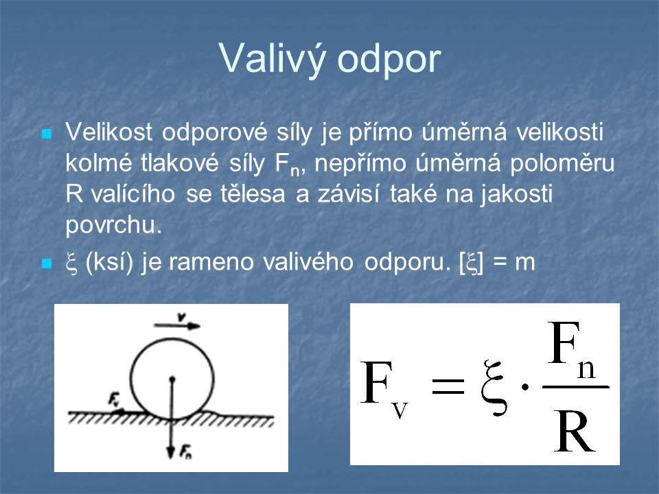 Valivý odpor Velikost odporové síly je přímo úměrná velikosti kolmé tlakové síly F n, nepřímo úměrná poloměru R valícího se tělesa a závisí také na ja