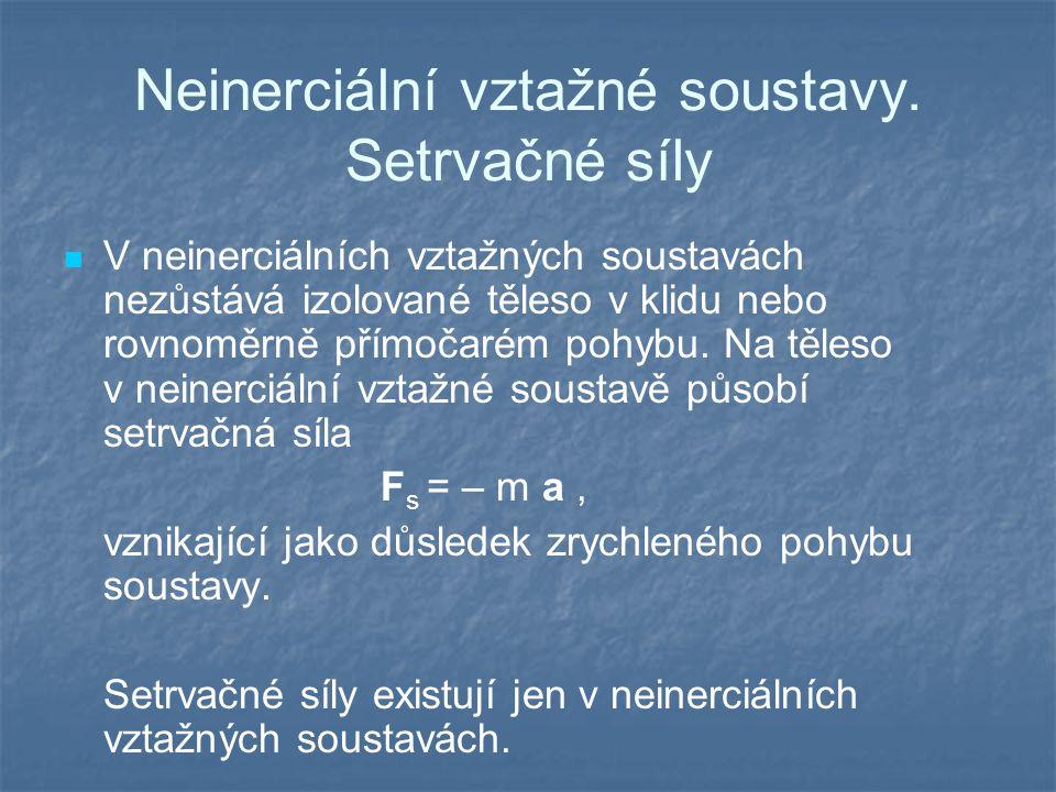 Neinerciální vztažné soustavy. Setrvačné síly V neinerciálních vztažných soustavách nezůstává izolované těleso v klidu nebo rovnoměrně přímočarém pohy