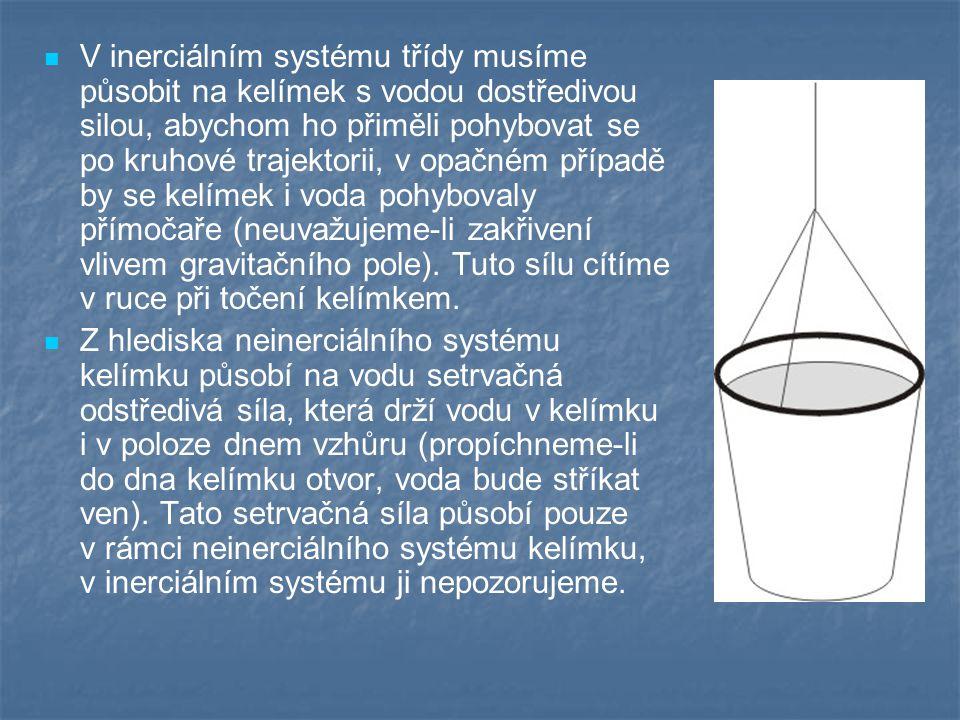 V inerciálním systému třídy musíme působit na kelímek s vodou dostředivou silou, abychom ho přiměli pohybovat se po kruhové trajektorii, v opačném pří