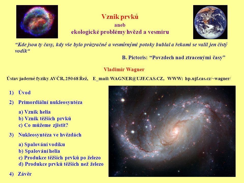 1)Úvod 2)Primordiální nukleosyntéza a) Vznik helia b) Vznik těžších prvků c) Co můžeme zjistit.