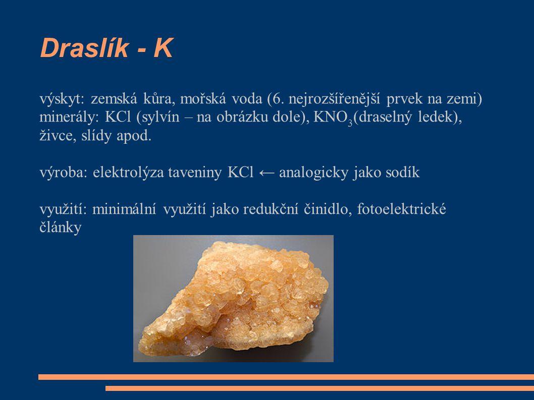 Draslík - K výskyt: zemská kůra, mořská voda (6.