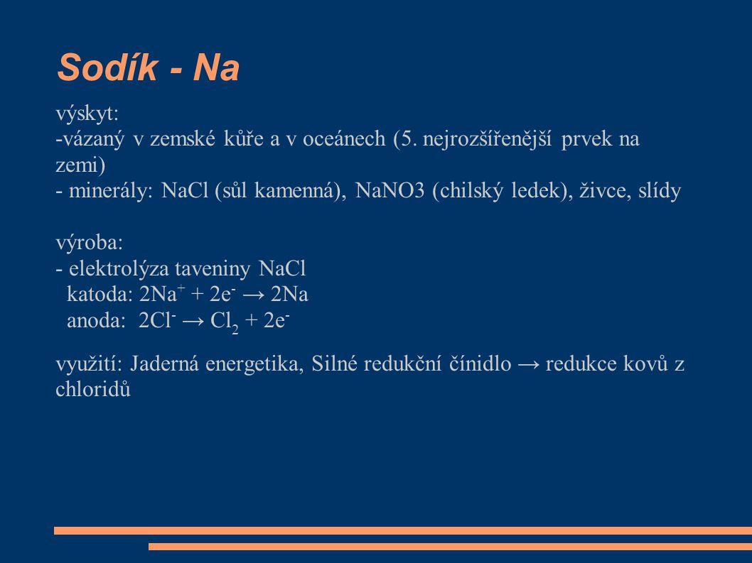 Sodík - Na výskyt: -vázaný v zemské kůře a v oceánech (5.