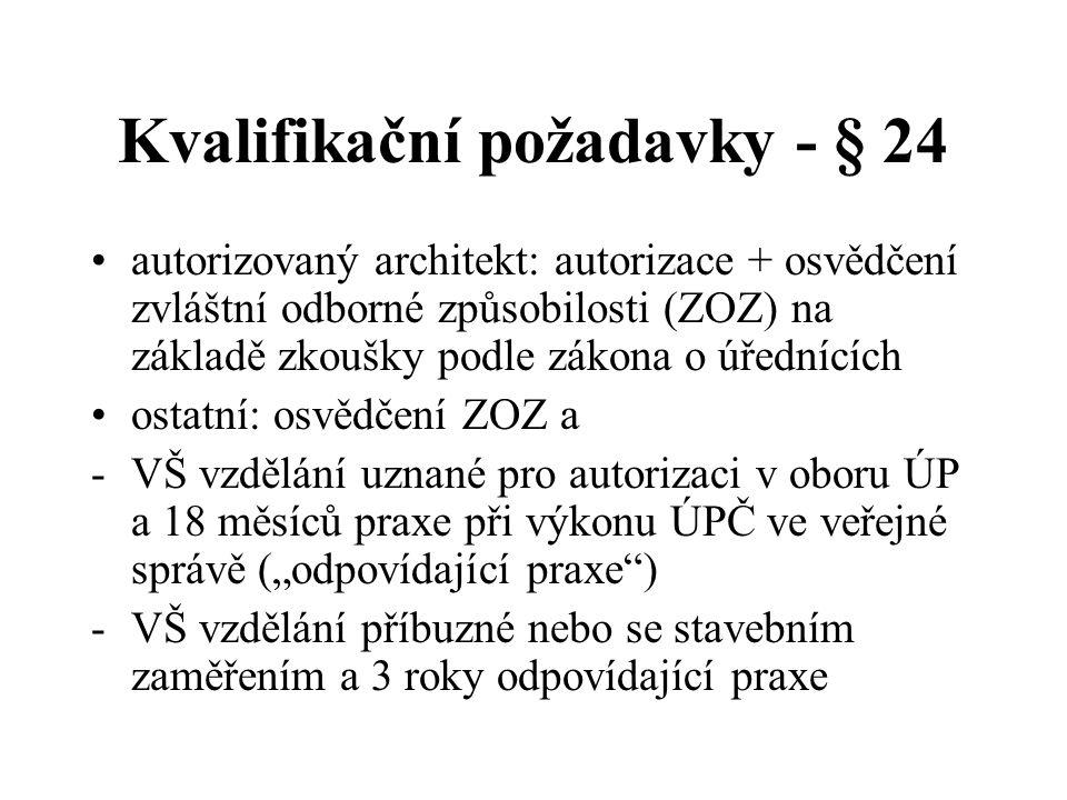 Kvalifikační požadavky - § 24 autorizovaný architekt: autorizace + osvědčení zvláštní odborné způsobilosti (ZOZ) na základě zkoušky podle zákona o úře