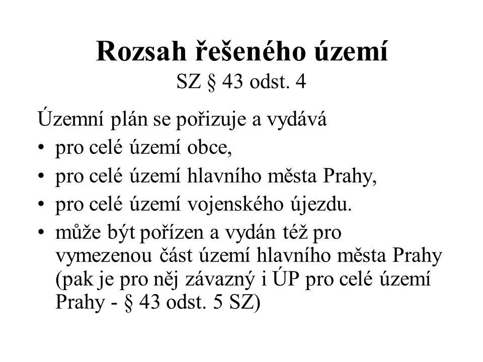 Rozsah řešeného území SZ § 43 odst. 4 Územní plán se pořizuje a vydává pro celé území obce, pro celé území hlavního města Prahy, pro celé území vojens