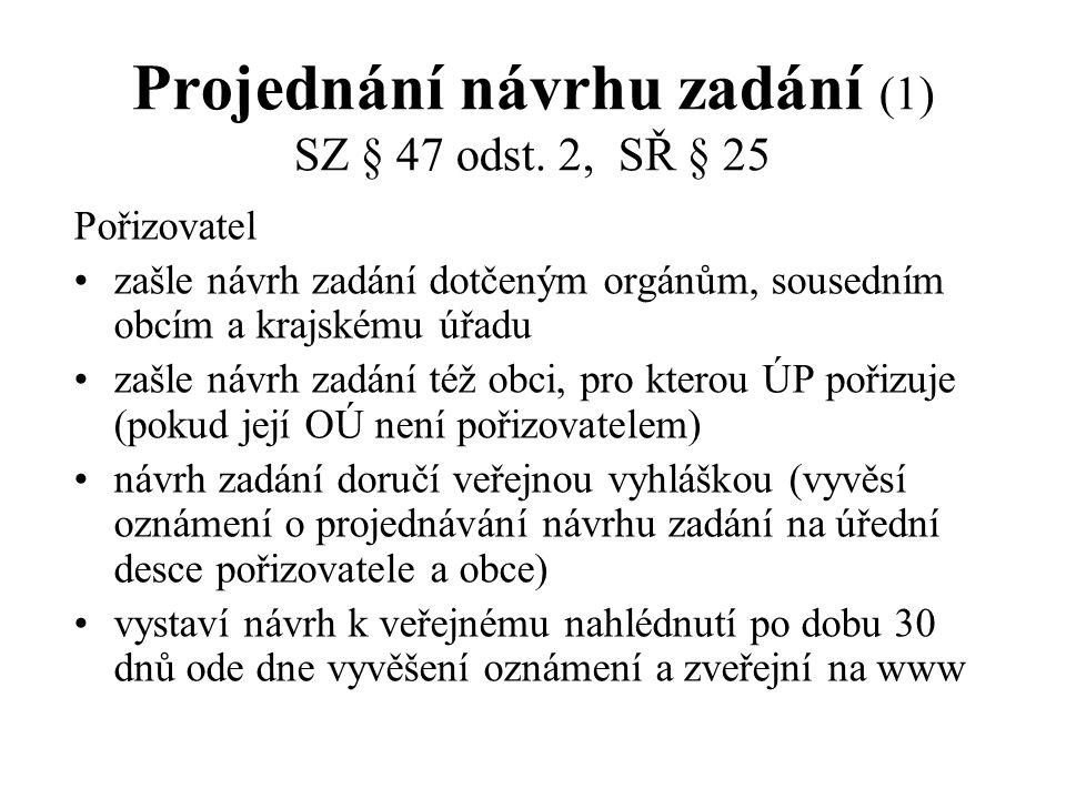 Projednání návrhu zadání (1) SZ § 47 odst. 2, SŘ § 25 Pořizovatel zašle návrh zadání dotčeným orgánům, sousedním obcím a krajskému úřadu zašle návrh z