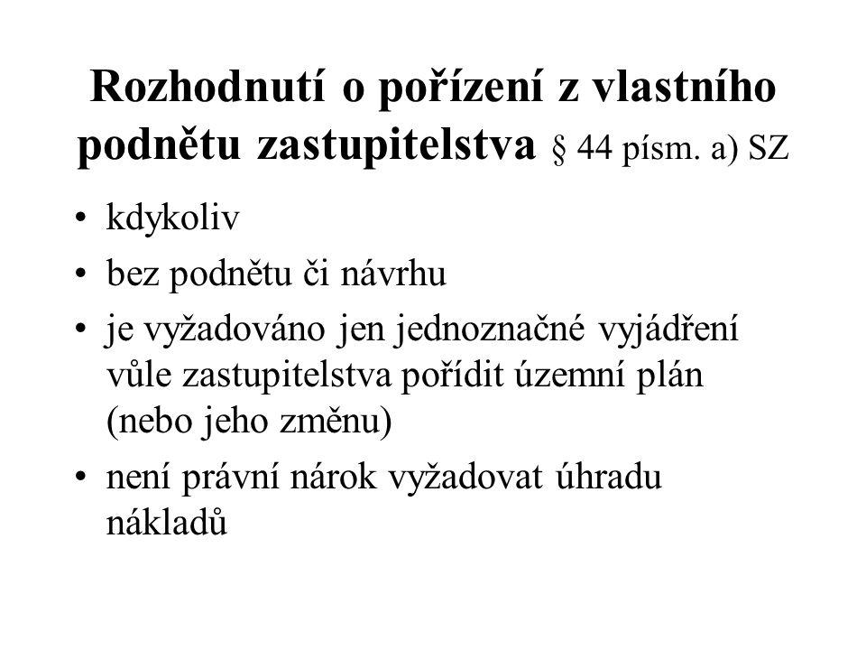Obsah návrhu na pořízení SZ § 46 odst.