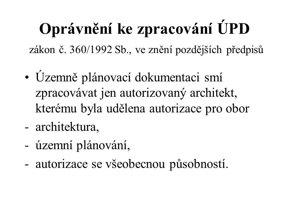 Oprávnění ke zpracování ÚPD zákon č. 360/1992 Sb., ve znění pozdějších předpisů Územně plánovací dokumentaci smí zpracovávat jen autorizovaný architek