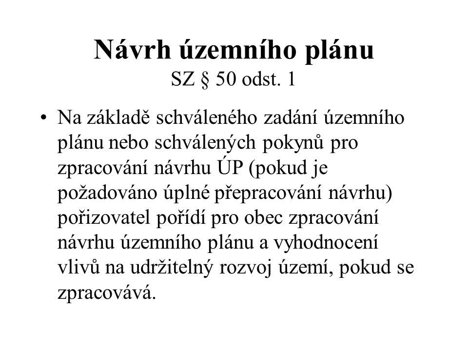 Návrh územního plánu SZ § 50 odst. 1 Na základě schváleného zadání územního plánu nebo schválených pokynů pro zpracování návrhu ÚP (pokud je požadován