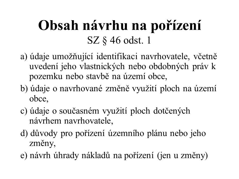 Návrh územního plánu SZ § 50 odst.