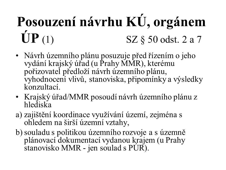 Posouzení návrhu KÚ, orgánem ÚP (1) SZ § 50 odst. 2 a 7 Návrh územního plánu posuzuje před řízením o jeho vydání krajský úřad (u Prahy MMR), kterému p