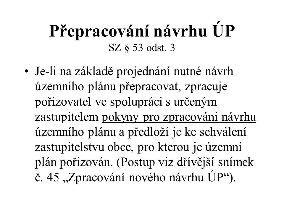 Přepracování návrhu ÚP SZ § 53 odst. 3 Je-li na základě projednání nutné návrh územního plánu přepracovat, zpracuje pořizovatel ve spolupráci s určený