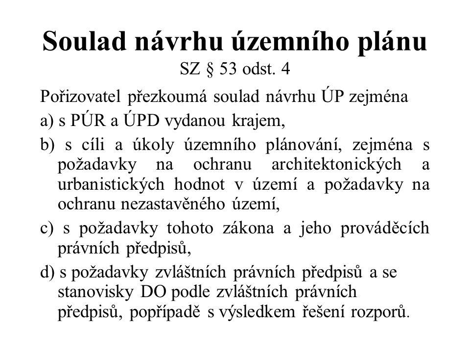 Soulad návrhu územního plánu SZ § 53 odst. 4 Pořizovatel přezkoumá soulad návrhu ÚP zejména a) s PÚR a ÚPD vydanou krajem, b) s cíli a úkoly územního