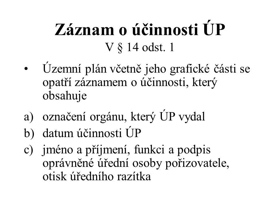 Záznam o účinnosti ÚP V § 14 odst. 1 Územní plán včetně jeho grafické části se opatří záznamem o účinnosti, který obsahuje a)označení orgánu, který ÚP