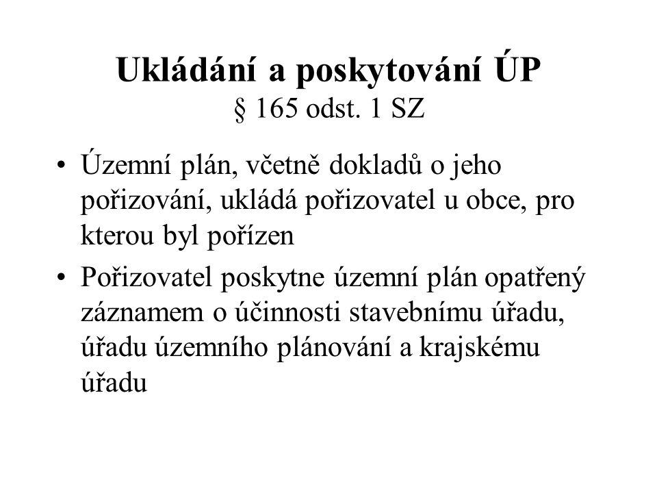 Ukládání a poskytování ÚP § 165 odst. 1 SZ Územní plán, včetně dokladů o jeho pořizování, ukládá pořizovatel u obce, pro kterou byl pořízen Pořizovate