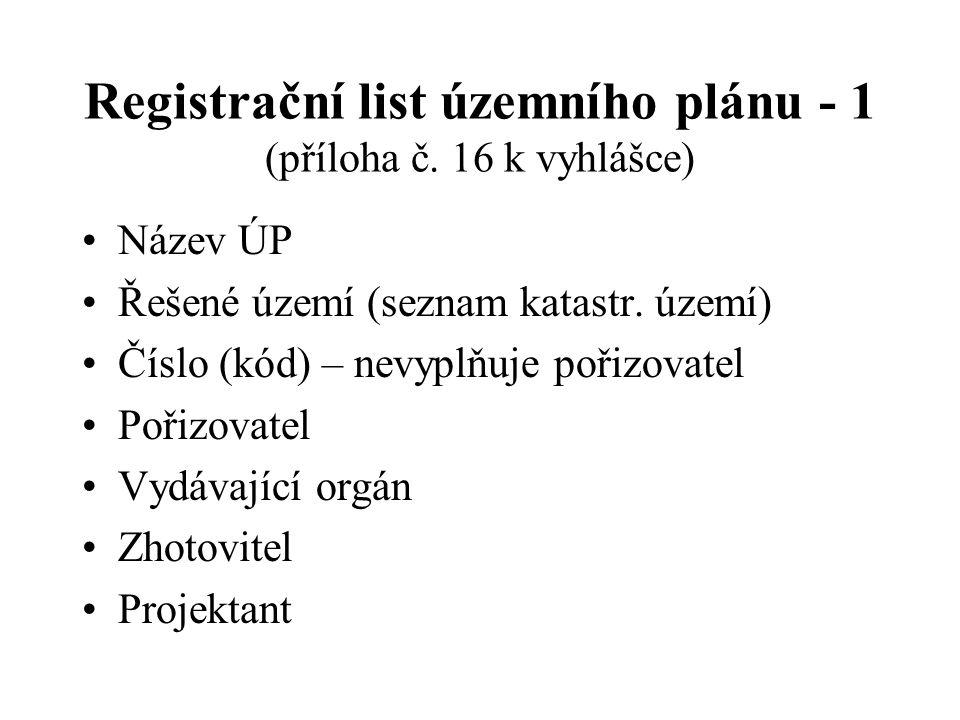 Registrační list územního plánu - 1 (příloha č. 16 k vyhlášce) Název ÚP Řešené území (seznam katastr. území) Číslo (kód) – nevyplňuje pořizovatel Poři