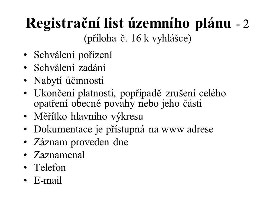 Registrační list územního plánu - 2 (příloha č. 16 k vyhlášce) Schválení pořízení Schválení zadání Nabytí účinnosti Ukončení platnosti, popřípadě zruš