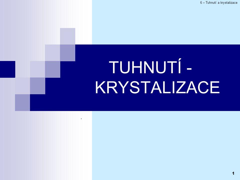 6 – Tuhnutí a krystalizace 1 TUHNUTÍ - KRYSTALIZACE.
