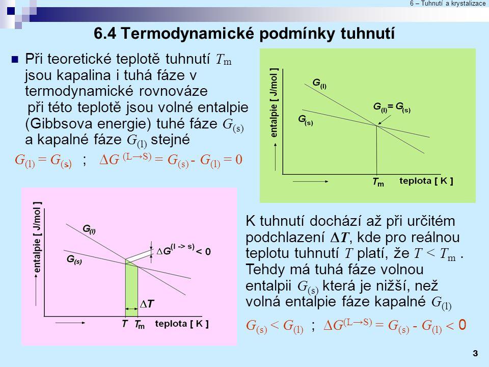 6 – Tuhnutí a krystalizace 3 6.4 Termodynamické podmínky tuhnutí Při teoretické teplotě tuhnutí T m jsou kapalina i tuhá fáze v termodynamické rovnová