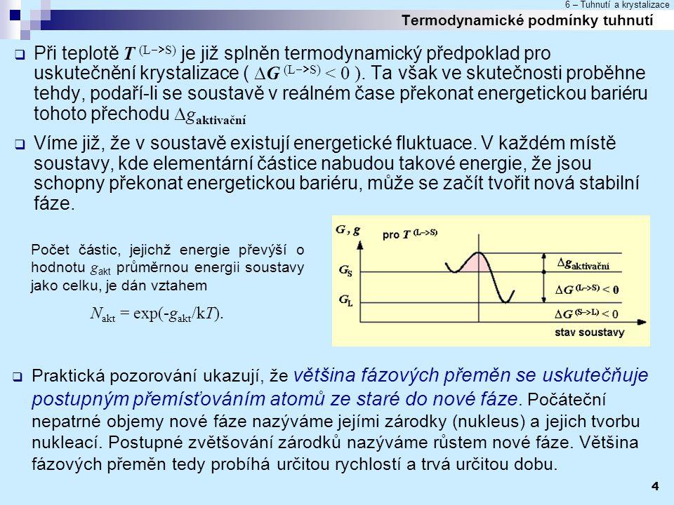 6 – Tuhnutí a krystalizace 4 Termodynamické podmínky tuhnutí  Při teplotě T (L  S) je již splněn termodynamický předpoklad pro uskutečnění krystali