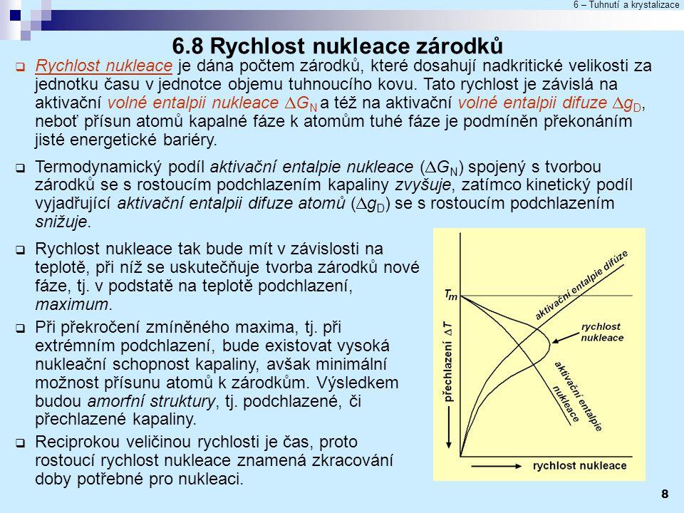 6 – Tuhnutí a krystalizace 8 6.8 Rychlost nukleace zárodků  Rychlost nukleace je dána počtem zárodků, které dosahují nadkritické velikosti za jednotk