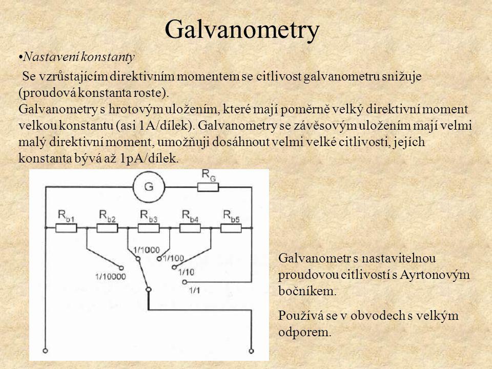 Nastavení konstanty Se vzrůstajícím direktivním momentem se citlivost galvanometru snižuje (proudová konstanta roste). Galvanometry s hrotovým uložení