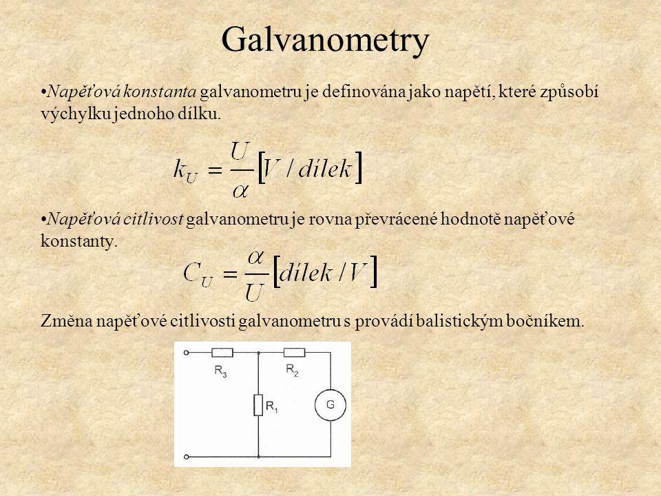 Napěťová konstanta galvanometru je definována jako napětí, které způsobí výchylku jednoho dílku. Napěťová citlivost galvanometru je rovna převrácené h