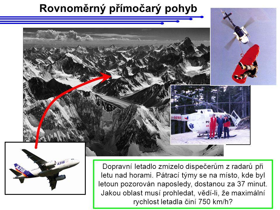 Rovnoměrný přímočarý pohyb Dopravní letadlo zmizelo dispečerům z radarů při letu nad horami. Pátrací týmy se na místo, kde byl letoun pozorován naposl