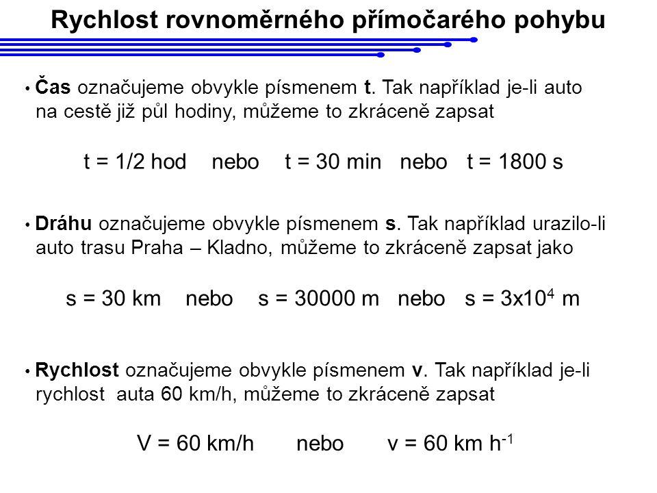 Rychlost označujeme obvykle písmenem v. Tak například je-li rychlost auta 60 km/h, můžeme to zkráceně zapsat V = 60 km/h nebo v = 60 km h -1 Čas označ
