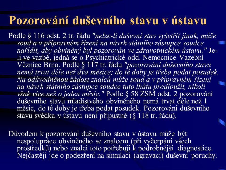 Pozorování duševního stavu v ústavu Podle § 116 odst. 2 tr. řádu