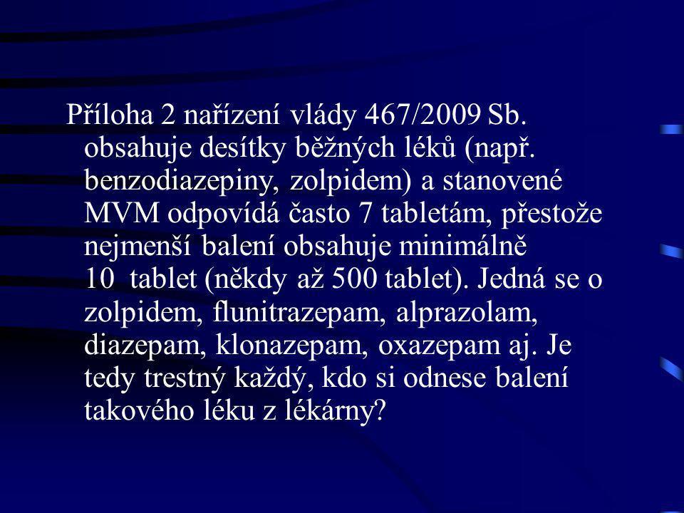 Příloha 2 nařízení vlády 467/2009 Sb. obsahuje desítky běžných léků (např. benzodiazepiny, zolpidem) a stanovené MVM odpovídá často 7 tabletám, přesto