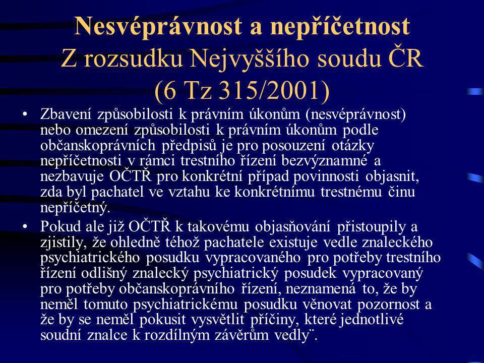 Nesvéprávnost a nepříčetnost Z rozsudku Nejvyššího soudu ČR (6 Tz 315/2001) Zbavení způsobilosti k právním úkonům (nesvéprávnost) nebo omezení způsobi