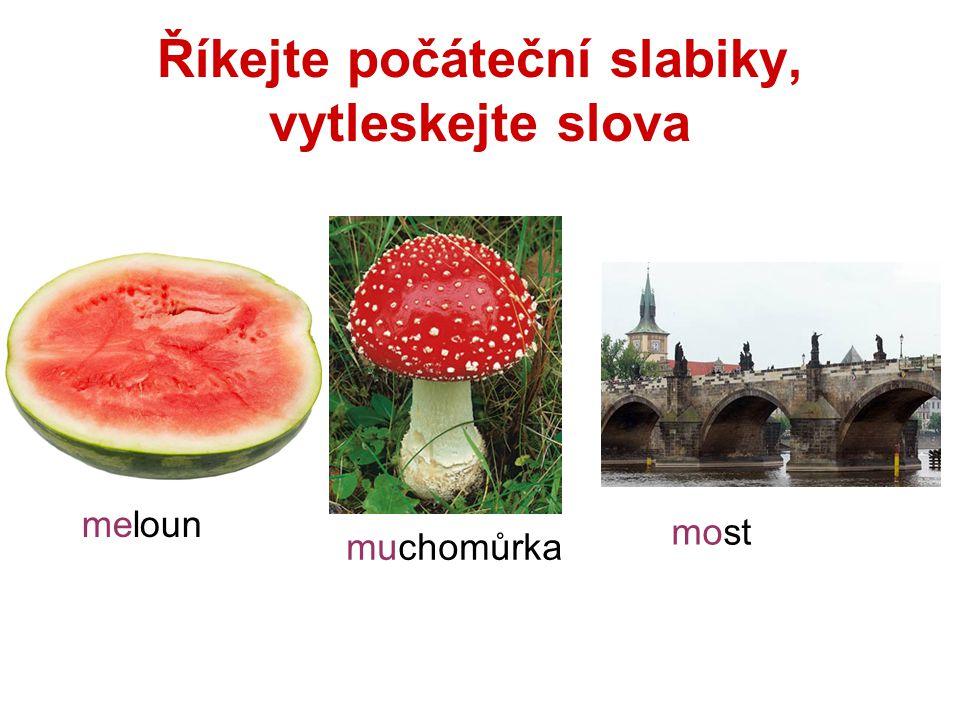 Říkejte počáteční slabiky, vytleskejte slova meloun muchomůrka most
