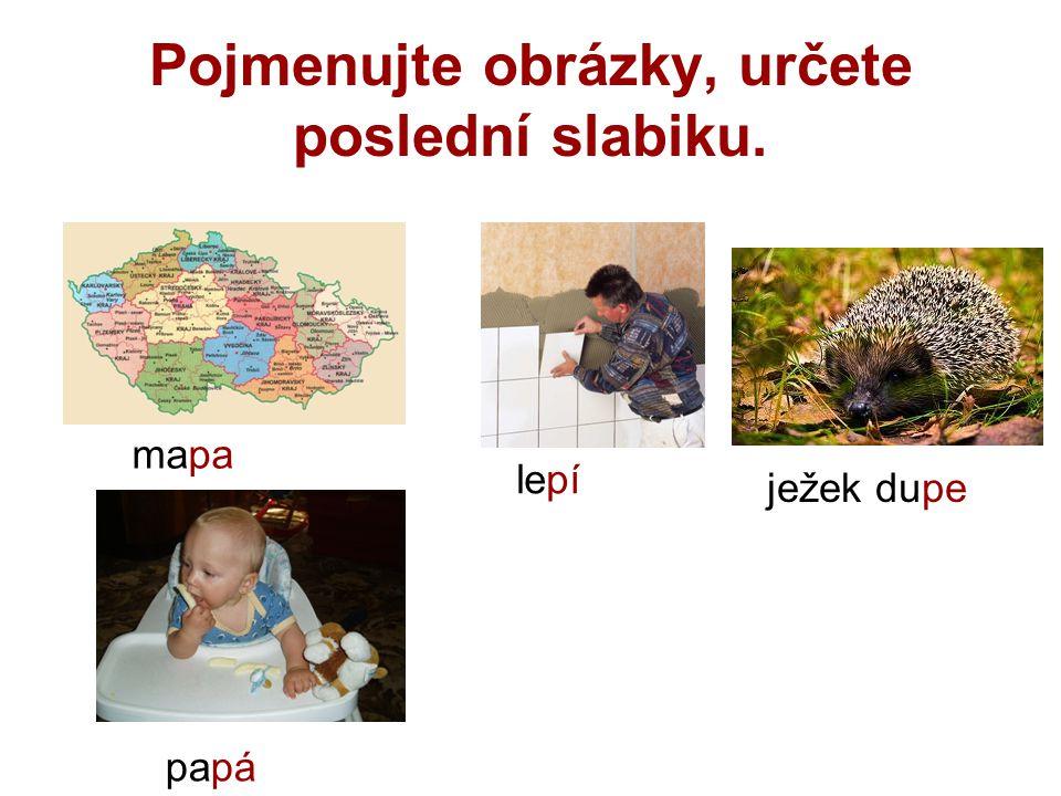 Pojmenujte obrázky, určete poslední slabiku. mapa lepí ježek dupe papá