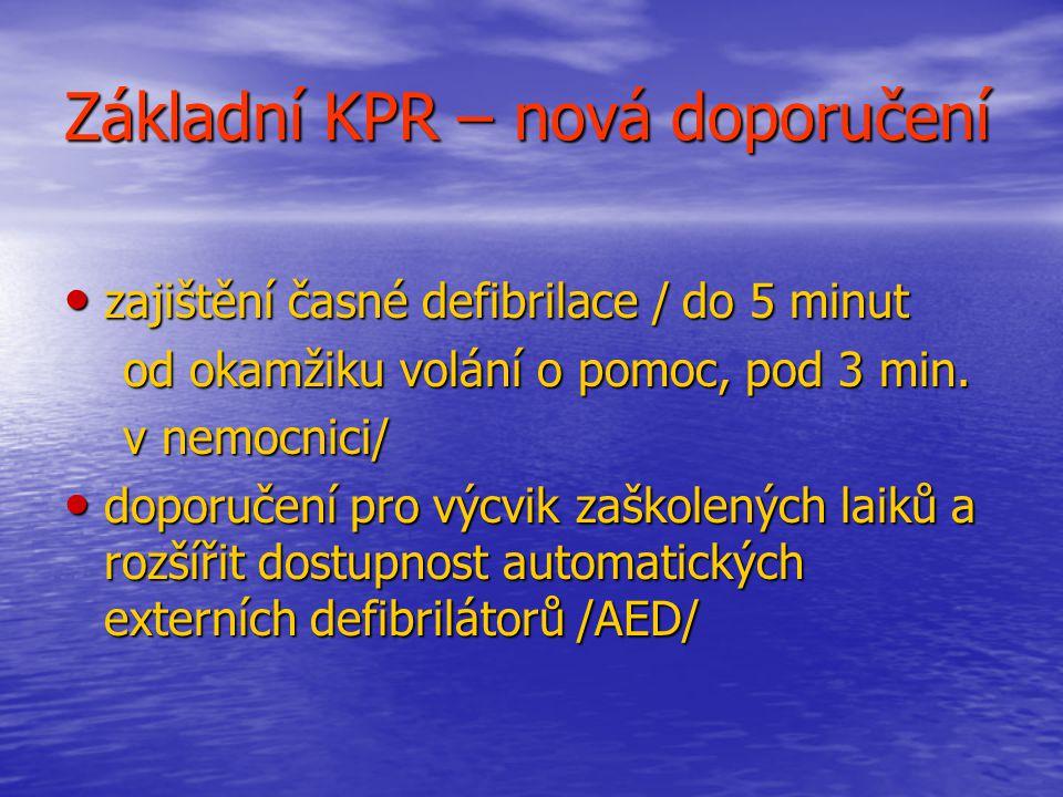 Základní KPR – nová doporučení zajištění časné defibrilace / do 5 minut zajištění časné defibrilace / do 5 minut od okamžiku volání o pomoc, pod 3 min.