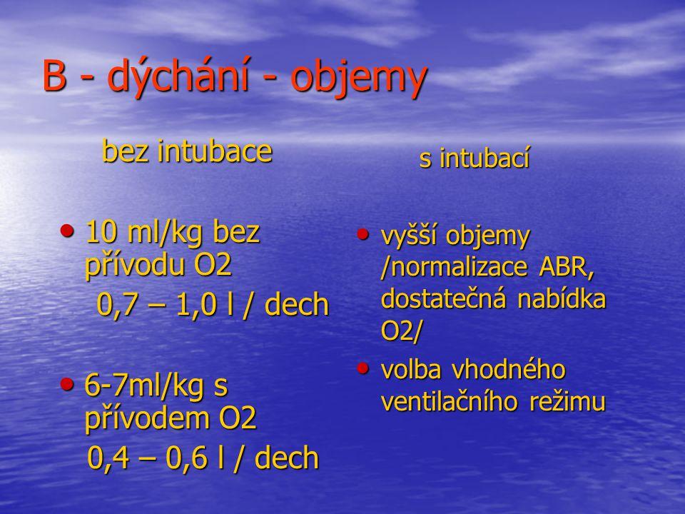 B - dýchání - objemy bez intubace bez intubace 10 ml/kg bez přívodu O2 10 ml/kg bez přívodu O2 0,7 – 1,0 l / dech 0,7 – 1,0 l / dech 6-7ml/kg s přívodem O2 6-7ml/kg s přívodem O2 0,4 – 0,6 l / dech 0,4 – 0,6 l / dech s intubací s intubací vyšší objemy /normalizace ABR, dostatečná nabídka O2/ vyšší objemy /normalizace ABR, dostatečná nabídka O2/ volba vhodného ventilačního režimu volba vhodného ventilačního režimu