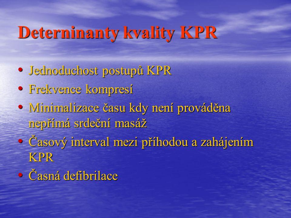 Deterninanty kvality KPR Jednoduchost postupů KPR Jednoduchost postupů KPR Frekvence kompresí Frekvence kompresí Minimalizace času kdy není prováděna nepřímá srdeční masáž Minimalizace času kdy není prováděna nepřímá srdeční masáž Časový interval mezi příhodou a zahájením KPR Časový interval mezi příhodou a zahájením KPR Časná defibrilace Časná defibrilace