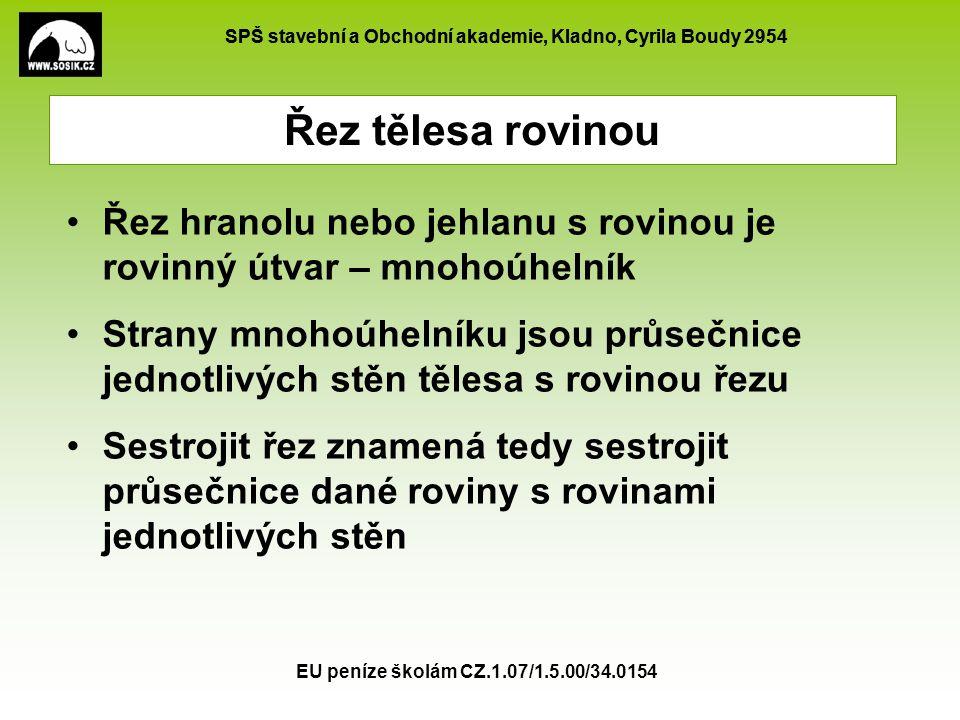 SPŠ stavební a Obchodní akademie, Kladno, Cyrila Boudy 2954 EU peníze školám CZ.1.07/1.5.00/34.0154 A B CD E F G H  = XYZ, |CX| = 2|DX| ;Y=S FG ; |EZ| = 2|AZ| X Y Z Sestrojte řez krychle ABCDEFGH rovinou Řez krychle rovinou – příklad 9 Pomocnou rovinu vedeme přímkou ZY