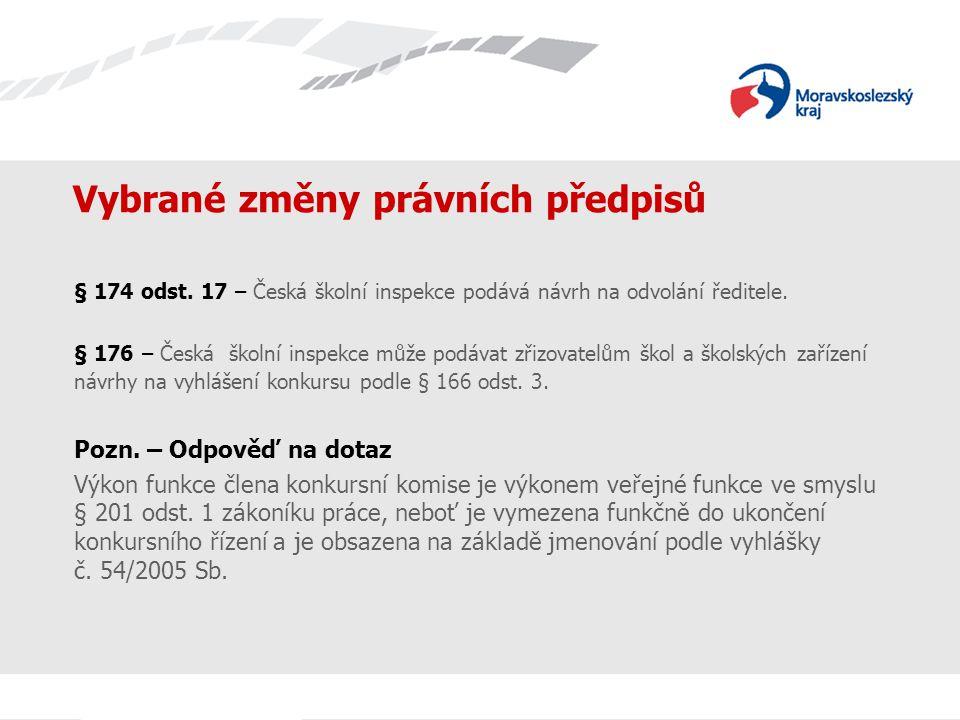 Vybrané změny právních předpisů § 174 odst. 17 – Česká školní inspekce podává návrh na odvolání ředitele. § 176 – Česká školní inspekce může podávat z
