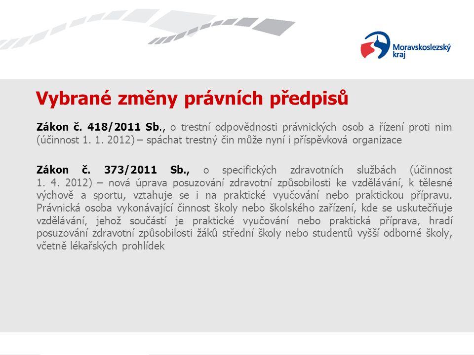 Vybrané změny právních předpisů Zákon č. 418/2011 Sb., o trestní odpovědnosti právnických osob a řízení proti nim (účinnost 1. 1. 2012) – spáchat tres