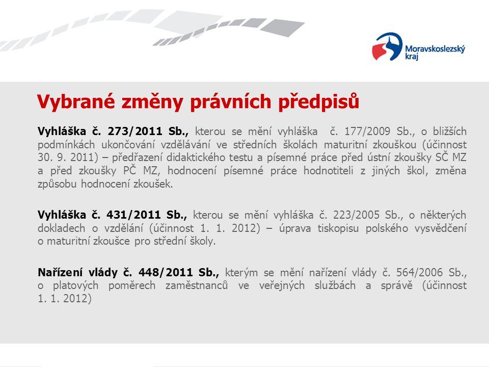 Vybrané změny právních předpisů Vyhláška č. 273/2011 Sb., kterou se mění vyhláška č. 177/2009 Sb., o bližších podmínkách ukončování vzdělávání ve stře