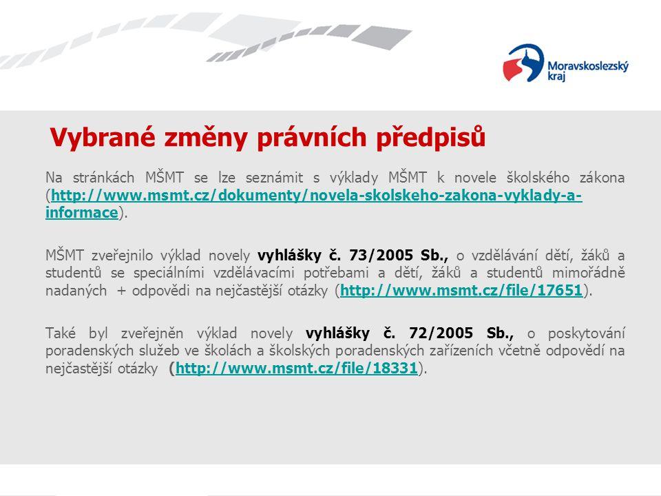 Vybrané změny právních předpisů Na stránkách MŠMT se lze seznámit s výklady MŠMT k novele školského zákona (http://www.msmt.cz/dokumenty/novela-skolskeho-zakona-vyklady-a- informace).http://www.msmt.cz/dokumenty/novela-skolskeho-zakona-vyklady-a- informace MŠMT zveřejnilo výklad novely vyhlášky č.